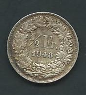 1948 - Suisse - Switzerland - 1/2 FRANC (B), Argent, Silver PIA 23405 - Suisse