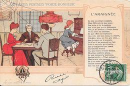 """1908 - LES CARTES POSTALES """" PORTE BONHEUR"""" - L'ARAIGNEE - Contes, Fables & Légendes"""