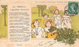 """1908 - LES CARTES POSTALES """" PORTE BONHEUR"""" - LE TREFLE A QUATRE FEUILLES - Contes, Fables & Légendes"""