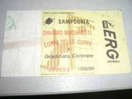 BIGLIETTO COPPA DELLE COPPE SAMPDORIA DINAMO BUCAREST 1988-89 - Altri
