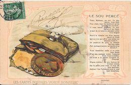 """1908 - LES CARTES POSTALES """" PORTE BONHEUR"""" - LE SOU PERCE - Contes, Fables & Légendes"""