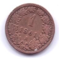 AUSTRIA 1861 A: 1 Kreuzer, KM 2186 - Autriche