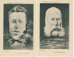 Lot De 2 Cpa Masques Souverains L'International-Le Pauvre Enfant  Illustrateur P.K - Kauffmann, Paul