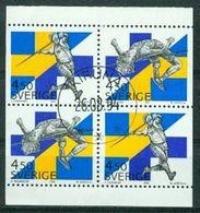 Bm Sweden 1994 MiNr 1843-1844 Dl/Dr (H-Blatt 223 Booklet Pane)  Used   Sweden-Finland Athletics Meeting, Stockholm - Suède