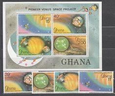 Ghana - Correo 1978 Yvert 642/5+H.77 ** Mnh  Astro - Ghana (1957-...)