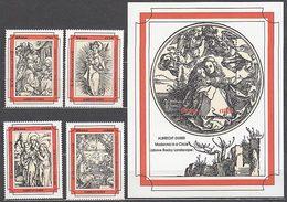Ghana - Correo 1993 Yvert 1528/31+H.236 ** Mnh  Navidad. Pinturas - Ghana (1957-...)