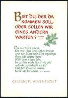 D8164 - Glückwunschkarte Advent Weihnachten -  Pollmer Spruchkarte - Verlag Schäfer - Noël