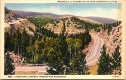 Montana U S Highway No 10 Over Continental Divide Curteich - Etats-Unis