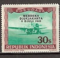 Repoeblik Indonesia 1949 - 30 Sen Liberation Overprint 'Merdeka Djokjakarta 6 Juli 1949' Hinged. See Description. - Indonesia