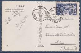 Exposition Textile Internationale Lille 10.5.51 Carte Postale Avec Timbre 881, Navette De Métier à Tisser - Marcophilie (Lettres)
