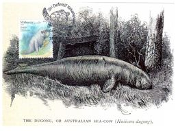 Malaysia Marine Life Definitive 2020 Maxicard Maximum Card Sea Turtle Postmark Dugong - Malaysia (1964-...)