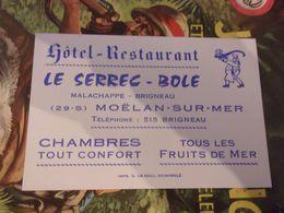 Carte Commerciale Hôtel Restaurant LE SERREC BOLE MOELAN SUR MER  MALACHAPPE BRIGNEAU FINISTERE BRETAGNE - Visiting Cards