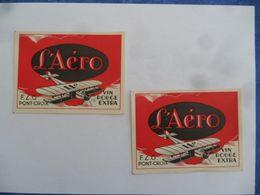 """(Bretagne - Finistère - PONT-CROIX)  - Lot De 2 Etiquettes  """" L'Aéro """"  Vin Rouge Extra 11°  (Illustration Avion Biplan) - Airplanes"""