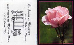 Service De Nétoiement De La Ville De Moissac 82 Présente Ses Meilleurs Voeux 1988 - Fleur - Rose - Phot. S. Mercier - Petit Format : 1981-90