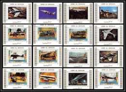 0012/ Umm Al Qiwain Deluxe Blocs ** MNH Michel N° 1274 / 1289 Aéroplanes Avions Planes Concorde Tirage Blanc - Umm Al-Qiwain