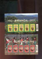 Belgie 2012 F4240/41 RUANDA URUNDI Burundi Velletje Van 5 MNH RR Plaatnummer Z - Panes
