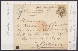 L. Affr. N°32 Càd BRUXELLES /16 JUIL 1882 Pour Baron Goffinet Secrétaire De La Légation De S.M. Le Roi Des Belges à BERL - 1869-1883 Leopold II