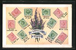 AK The Language Of Stamps, Verschiedene Briefmarken Mit Englischer Sprache - Briefmarken (Abbildungen)