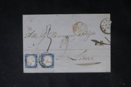 ITALIE - Lettre Pour Le France ( Lyon ) En 1863, Affranchissement Victor Emmanuel II Non Dentelé X 2 (TTB )  -  L 64484 - 1861-78 Vittorio Emanuele II