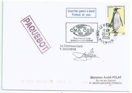 YT 446 Manchot Royal - Posté à Bord Du MD - Paquebot - Le Port - La Réunion - 20/03/2006 - French Southern And Antarctic Territories (TAAF)
