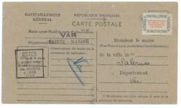 CARTE DE RAVITAILLEMENT GENERAL 1946 / ST MAXIME VAR POUR SALERNES - Marcophilie (Lettres)