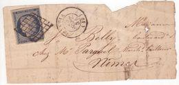 CORSE Fragment Timbre 25c Cérès Oblitération Grille + Cachet Type 15 BASTIA (19) Septembre 1851 > Nîmes - 1849-1850 Ceres