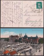 Beuthen Ober-Schlesien Moltkeplatz Landratsamt, Markttreiben, Bahnpostst. Breslau - Beuthen - 1928 - Schlesien