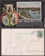Dreikaisereck Mayslowitz Trójkąt Trzech Cesarzy, Bahnpost Breslau - Myslowitz  ZUG 284, Offiziell Ak  Przemsa - Schlesien