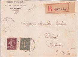 Lettre étiquette Recommandé De Bordereau 512 Ter N° 2 -4 De TROYES (cachet R01) AUBE 1913 Semeuse Lignée + Grasse - Francia