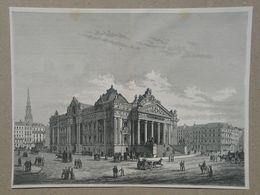 Brussel / Bruxelles. De Beurs / La Bourse. Gravure 1885. - Historische Dokumente