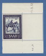 Saar 1952 Briefmarken-Ausstellung IMOSA Tag Der Briefmarke Mi.-Nr. 316 **  - Allemagne