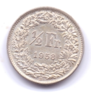 HELVETIA 1958: 1/2 Fr., Silver, KM 23 - Suisse