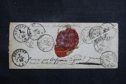 FRANCE - Enveloppe De Bordeaux Pour Coligny En 1855 Et Réexpédié , Voir Annotations Et Cachets Au Verso -  L 64498 - Marcophilie (Lettres)
