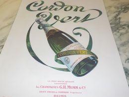ANCIENNE PUBLICITE CHAMPAGNE CORDON VERT DE MUMM 1925 - Alcolici
