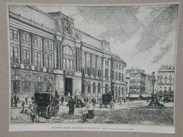 Brussel / Bruxelles. Muntplein (Post) / Place De La Monnaie (Poste) Gravure 1885. - Historische Dokumente