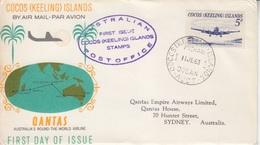1° Liaison Aérienne Australie-Cocos Is. 11 Juin 63 (3 Plis Pour Sydney, Port Louis, Johannesburg) - Cocos (Keeling) Islands
