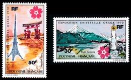 POLYNESIE 1970 - Yv. PA 32 Et 33 ** TB  Cote= 72,00 EUR - Expo Univ. Osaka, Au Japon (2 Val.)  ..Réf.POL25140 - Oblitérés