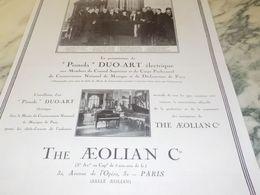 ANCIENNE PUBLICITE PIANOLA DUO ART ELECTRIQUE THE AEOLIAN COMPAGNY  1925 - Musica & Strumenti