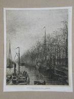 Brussel / Bruxelles. Groendreef + Kanaal / Allée Verte + Canal. Gravure 1885. - Historische Dokumente
