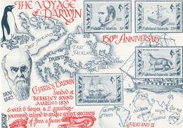 The Voyage Of Charles Darwin Rare Map Anniversary Postcard - Personaggi Storici