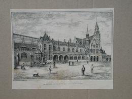 Brugge / Bruges. Station / Gare.  Gravure 1885. - Historische Dokumente