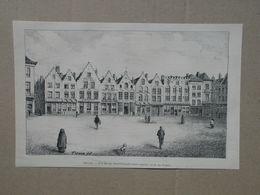 Brugge / Bruges. Markt / Grand Place.  Gravure 1885. - Historische Dokumente