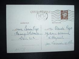 CP EP PETAIN 80c OBL.MEC.26 II 1942 PARIS RP DEPART Louise RIGO à Claude RIGO CHAZEUIL ALLIER (03) - Marcophilie (Lettres)