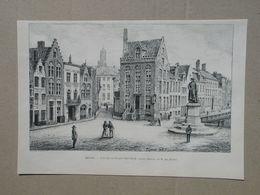 Brugge / Bruges. Van Eyckplaats / Place Van Eyck.  Gravure 1885. - Historische Dokumente