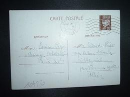 CP EP PETAIN 80c OBL.MEC.11 II 1942 PARIS RP DEPART Louise RIGO à Claude RIGO CHAZEUIL ALLIER (03) - Marcophilie (Lettres)