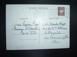 CP EP PETAIN 80c OBL.MEC.9 I 1942 PARIS RP DEPART Louise RIGO à Claude RIGO CHAZEUIL ALLIER (03) - Marcophilie (Lettres)
