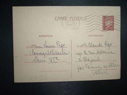 CP EP PETAIN 80c OBL.MEC.19 XII 1941 PARIS RP DEPART Louise RIGO à Claude RIGO CHAZEUIL ALLIER (03) - Marcophilie (Lettres)