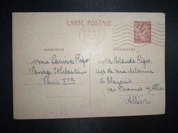 CP EP IRIS 80c OBL.MEC.18 XI 1941 PARIS RP DEPART Louise RIGO à Claude RIGO CHAZEUIL ALLIER (03) - Marcophilie (Lettres)