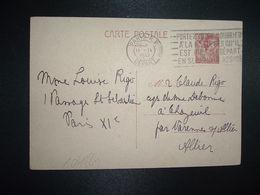 CP EP IRIS 80c OBL.MEC.11 IX 1941 PARIS RP DEPART Louise RIGO à Claude RIGO CHAZEUIL ALLIER (03) - Marcophilie (Lettres)