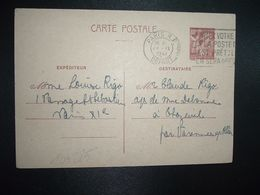 CP EP IRIS 80c OBL.MEC.24 IX 1941 PARIS RP DEPART Louise RIGO à Claude RIGO CHAZEUIL ALLIER (03) - Marcophilie (Lettres)
